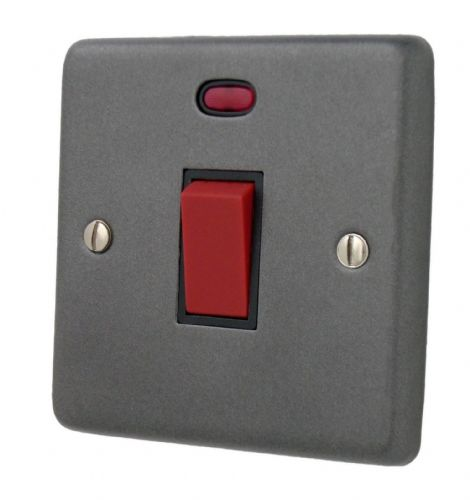 G&H CP46B Standard Plate Pewter 45 Amp DP Cooker Switch & Neon Single Plate